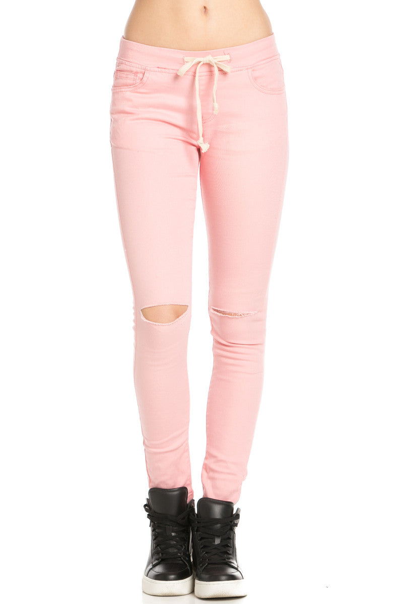 Destroyed Peach Skinny Jogger Jeans - Pants - My Yuccie - 1