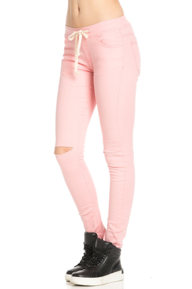 Destroyed Peach Skinny Jogger Jeans - Pants - My Yuccie - 2