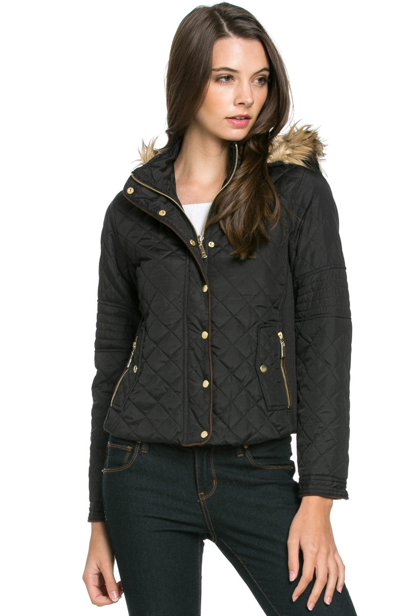 Quilted Padded Puffer Jacket with Faux Fur Hoodie Black - Jacket - My Yuccie - 1