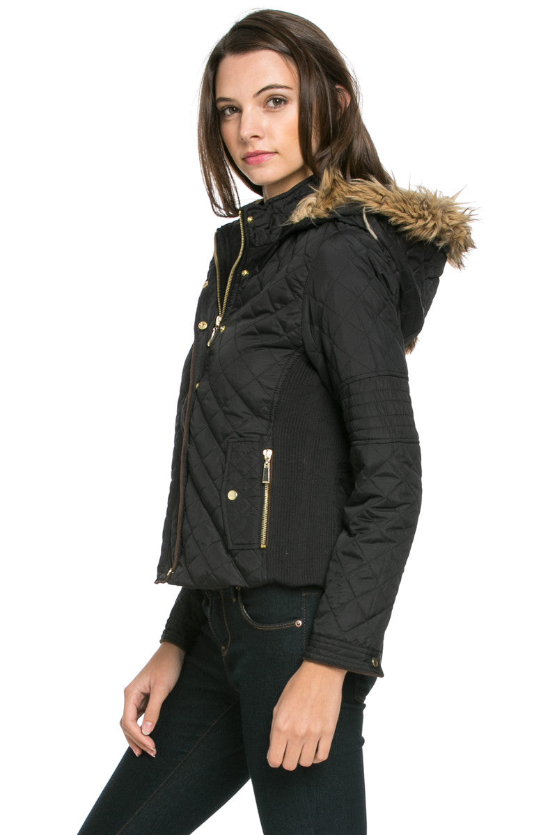 Quilted Padded Puffer Jacket with Faux Fur Hoodie Black - Jacket - My Yuccie - 3