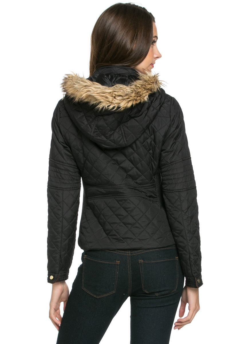 Quilted Padded Puffer Jacket with Faux Fur Hoodie Black - Jacket - My Yuccie - 4