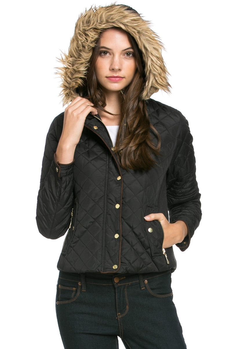 Quilted Padded Puffer Jacket with Faux Fur Hoodie Black - Jacket - My Yuccie - 2