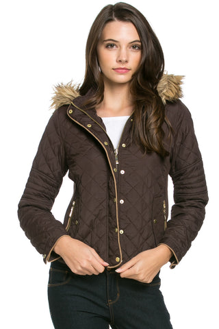 Quilted Padded Puffer Jacket with Faux Fur Hoodie Brown - Jacket - My Yuccie