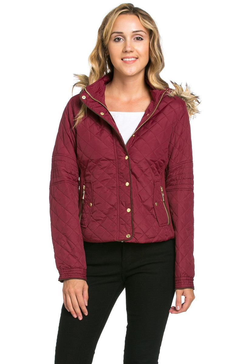 Quilted Padded Puffer Jacket with Faux Fur Hoodie Burgundy - Jacket - My Yuccie - 1
