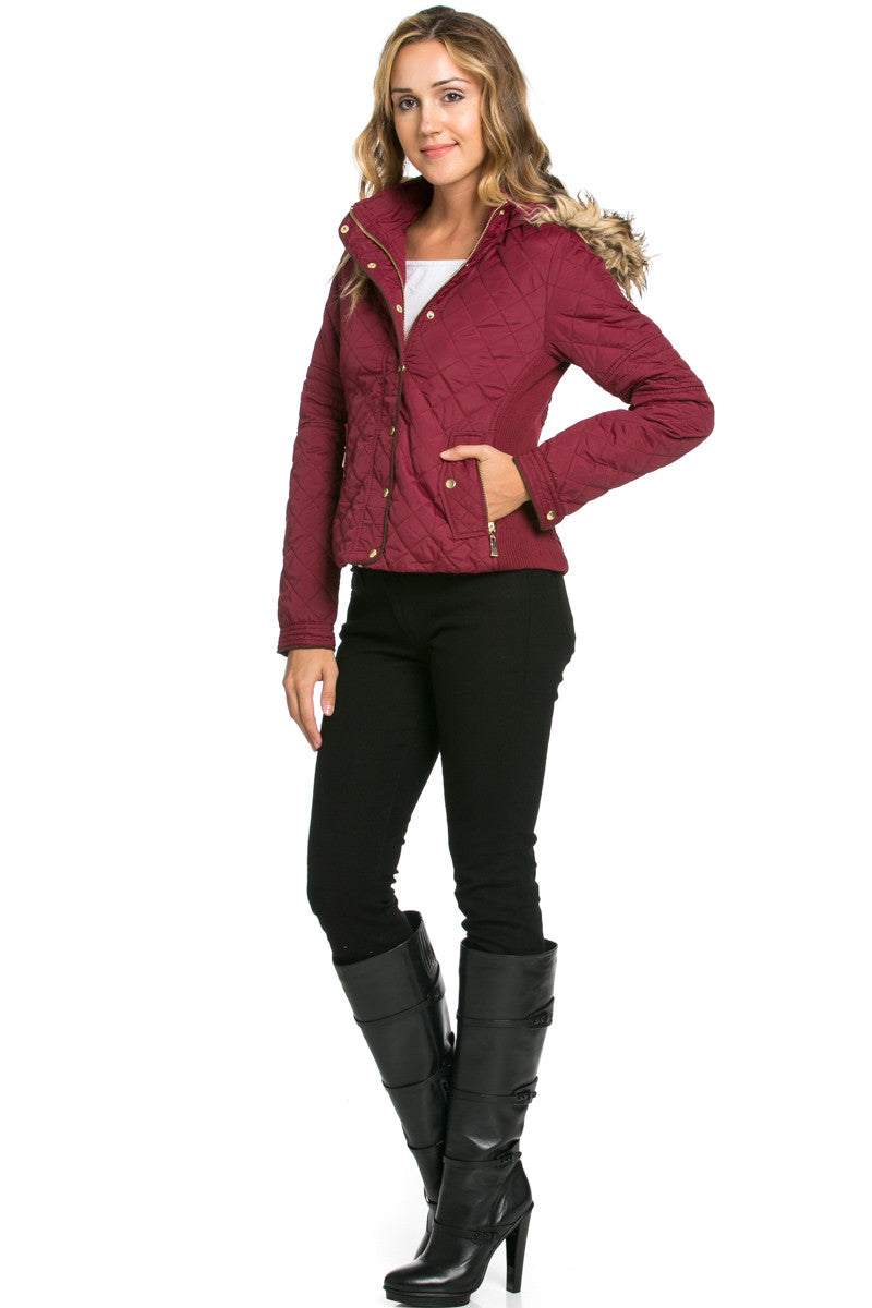 Quilted Padded Puffer Jacket with Faux Fur Hoodie Burgundy - Jacket - My Yuccie - 4