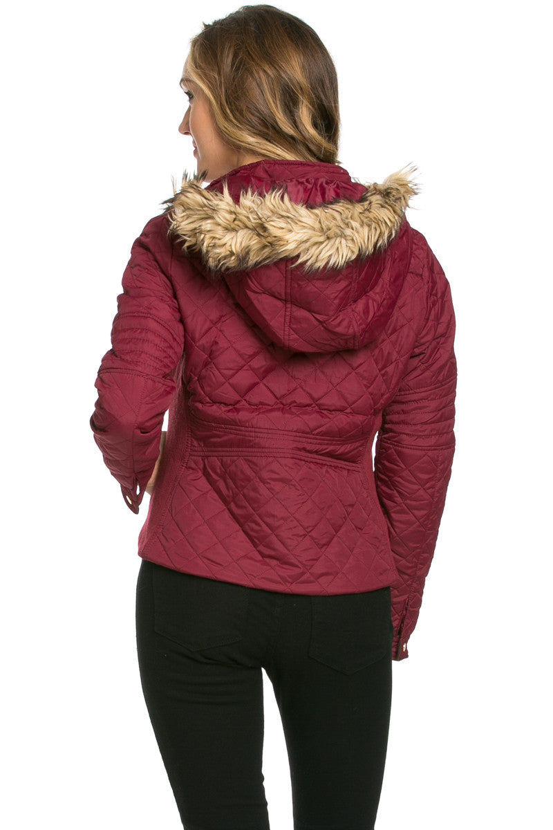 Quilted Padded Puffer Jacket with Faux Fur Hoodie Burgundy - Jacket - My Yuccie - 3