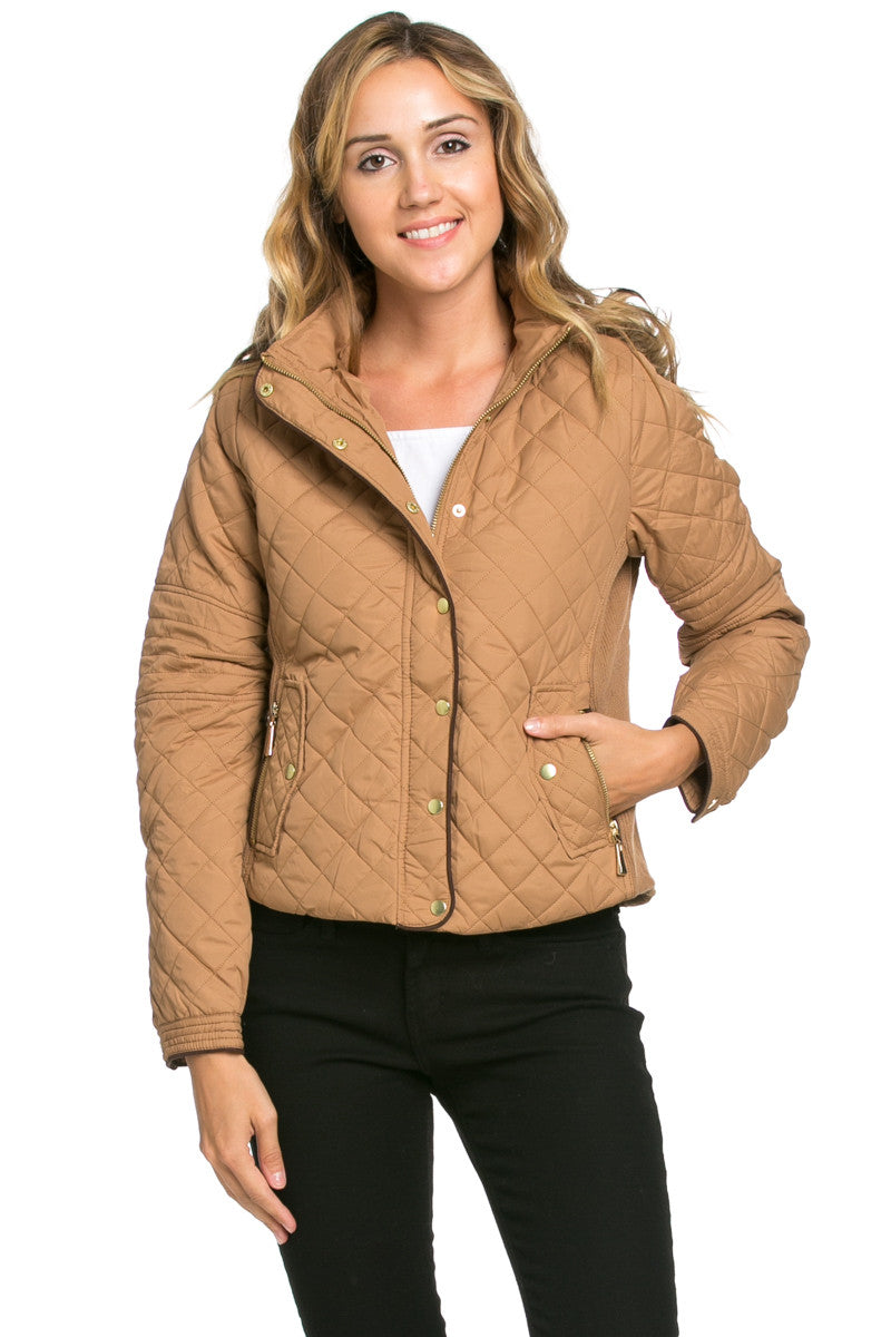 Quilted Padded Puffer Jacket with Faux Fur Hoodie Camel - Jacket - My Yuccie - 2
