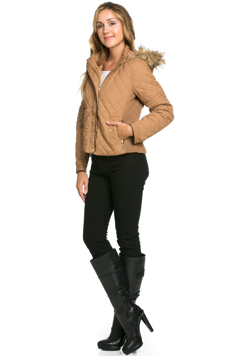 Quilted Padded Puffer Jacket with Faux Fur Hoodie Camel - Jacket - My Yuccie - 4