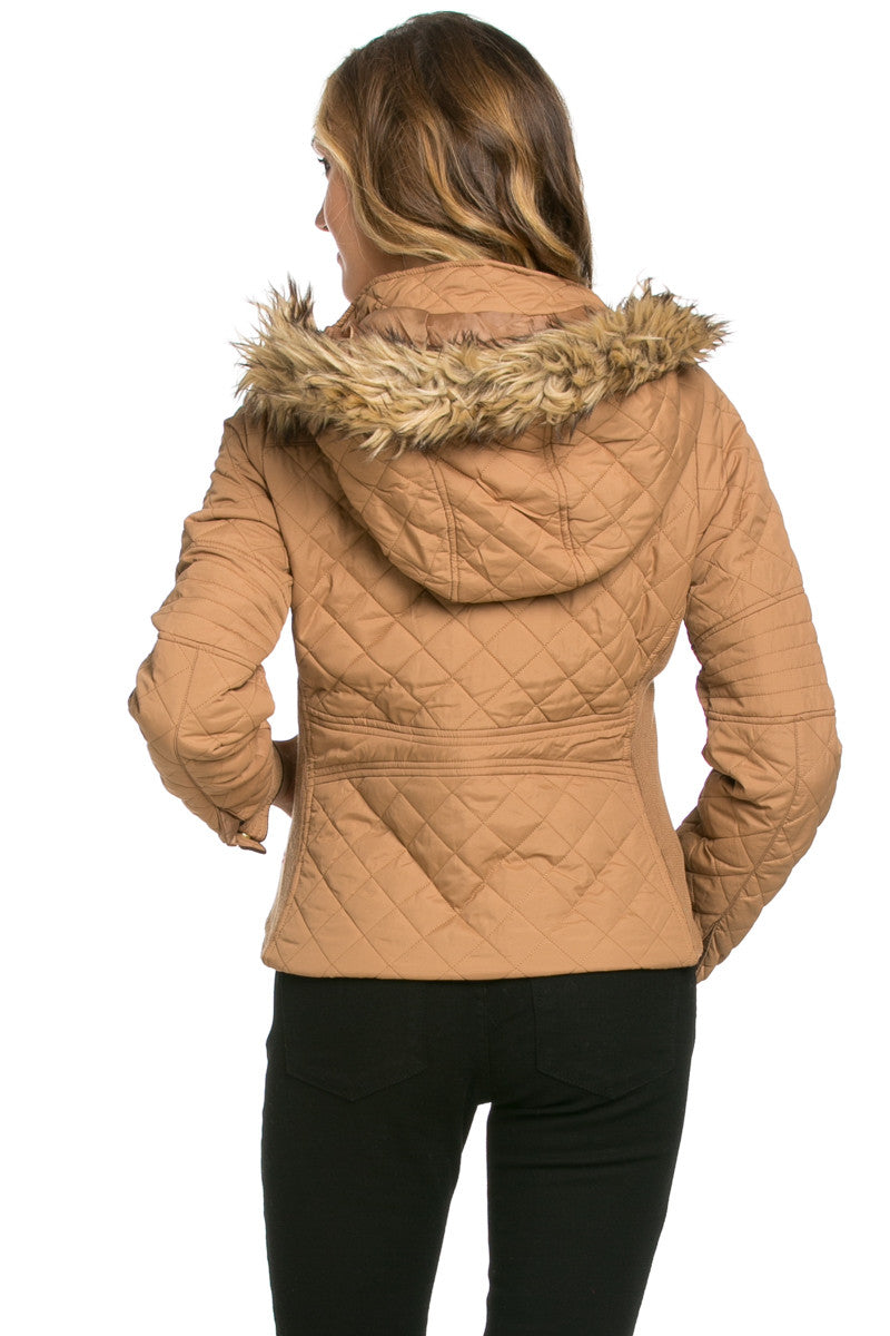 Quilted Padded Puffer Jacket with Faux Fur Hoodie Camel - Jacket - My Yuccie - 3