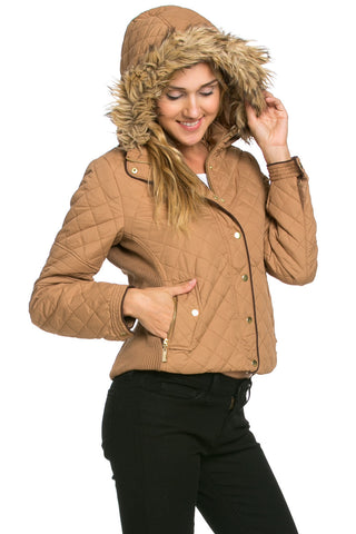 Quilted Padded Puffer Jacket with Faux Fur Hoodie Camel - Jacket - My Yuccie - 1