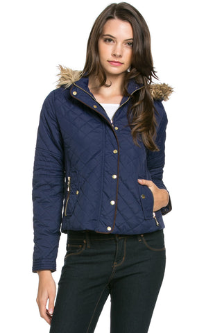 Quilted Padded Puffer Jacket with Faux Fur Hoodie Navy - Jacket - My Yuccie - 1