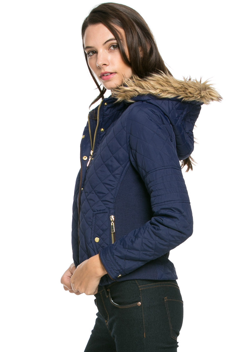 Quilted Padded Puffer Jacket with Faux Fur Hoodie Navy - Jacket - My Yuccie - 3