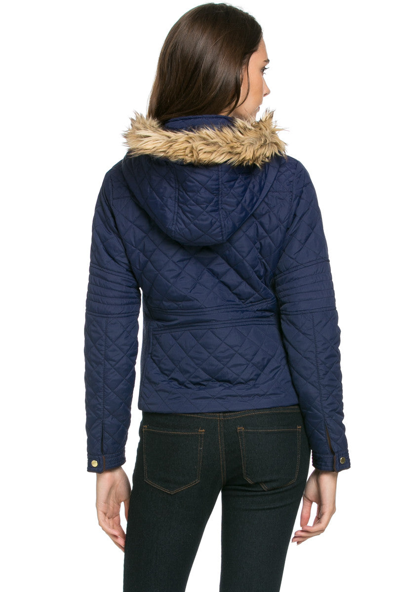 Quilted Padded Puffer Jacket with Faux Fur Hoodie Navy - Jacket - My Yuccie - 4