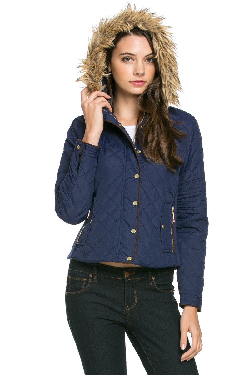 Quilted Padded Puffer Jacket with Faux Fur Hoodie Navy - Jacket - My Yuccie - 5