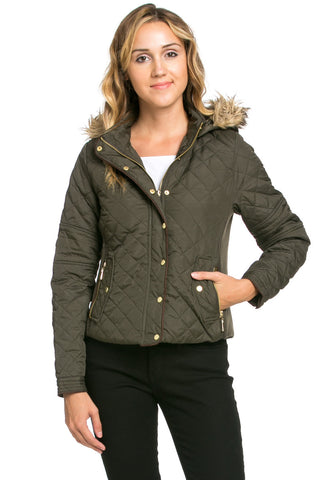 Quilted Padded Puffer Jacket with Faux Fur Hoodie Olive - Jacket - My Yuccie