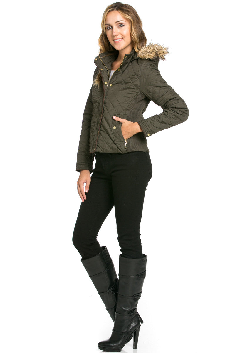 Quilted Padded Puffer Jacket with Faux Fur Hoodie Olive - Jacket - My Yuccie - 4