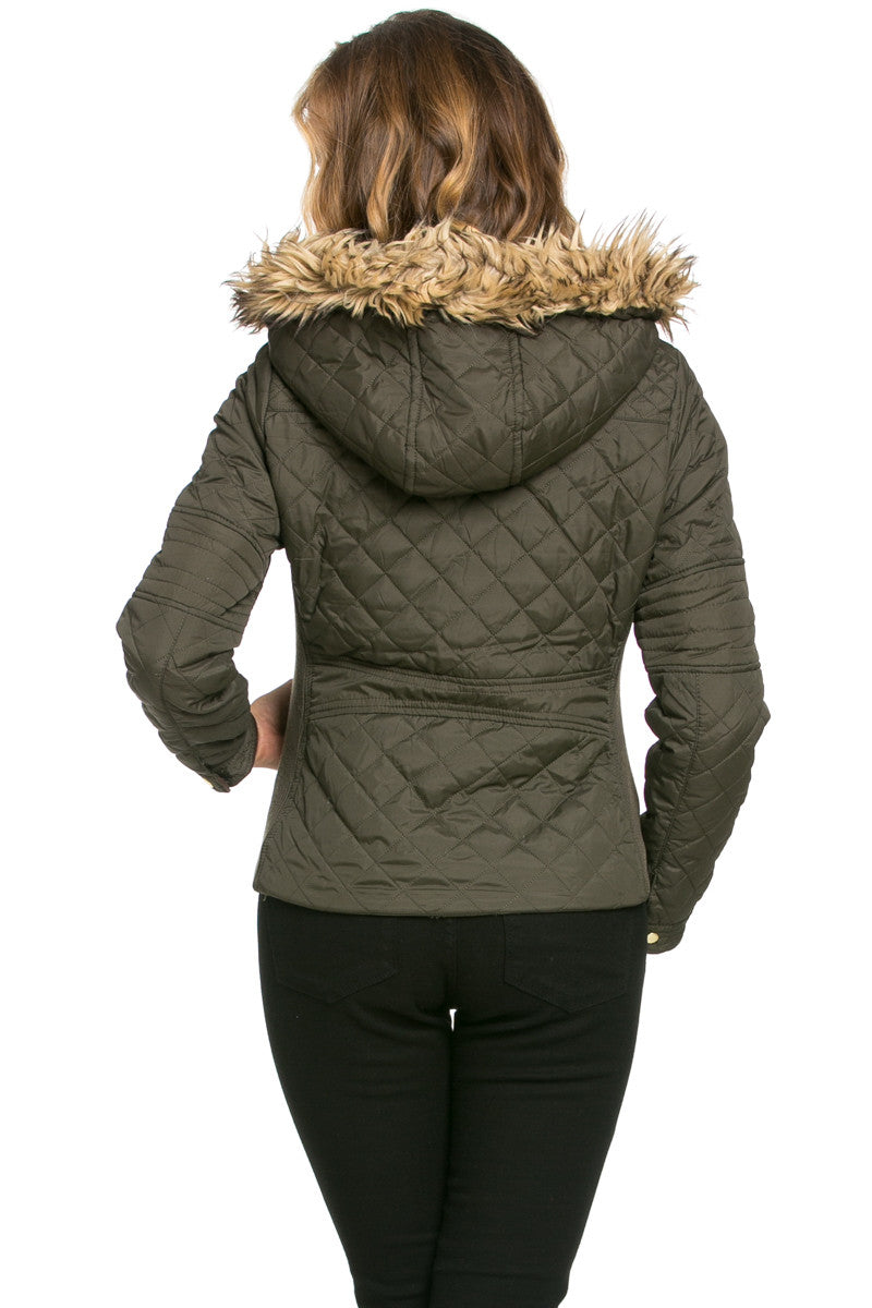 Quilted Padded Puffer Jacket with Faux Fur Hoodie Olive - Jacket - My Yuccie - 2