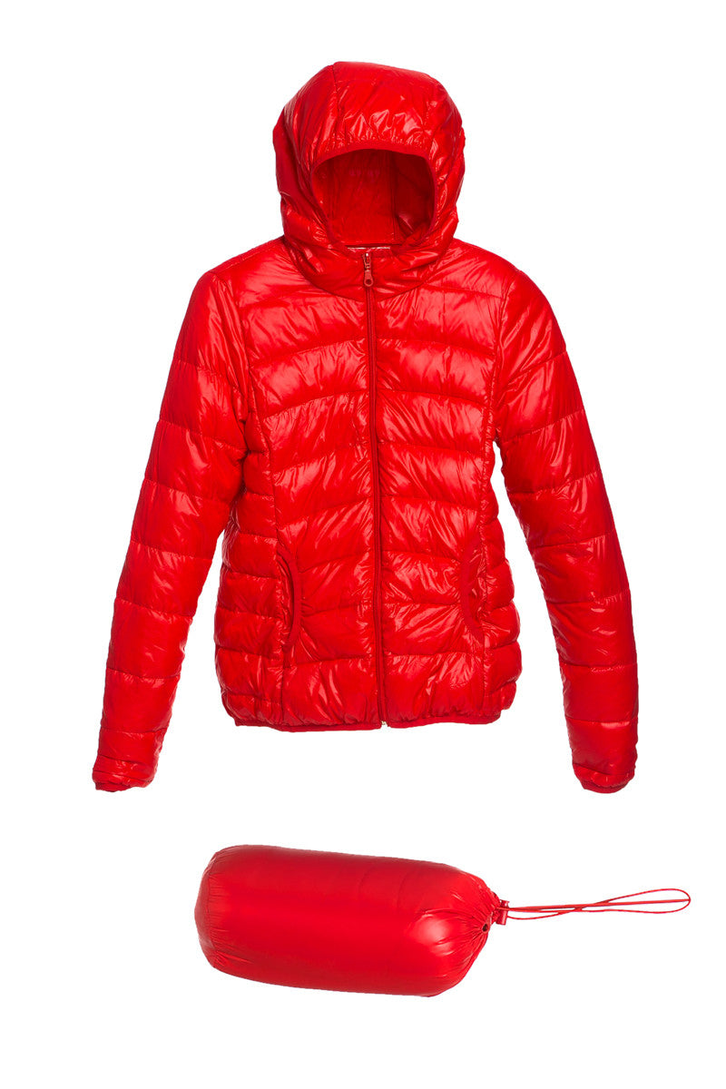 Lightweight Puffer Down Hooded Jacket Red - Jacket - My Yuccie - 5