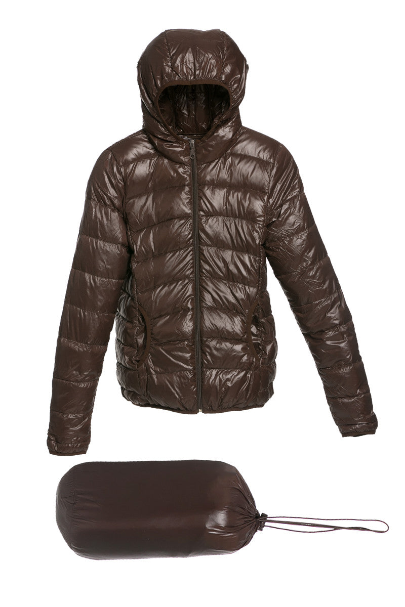 Lightweight Puffer Down Hooded Jacket Brown - Jacket - My Yuccie - 5