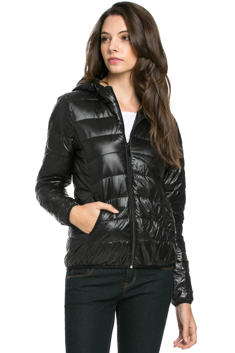 Lightweight Puffer Down Hooded Jacket Black - Jacket - My Yuccie - 1