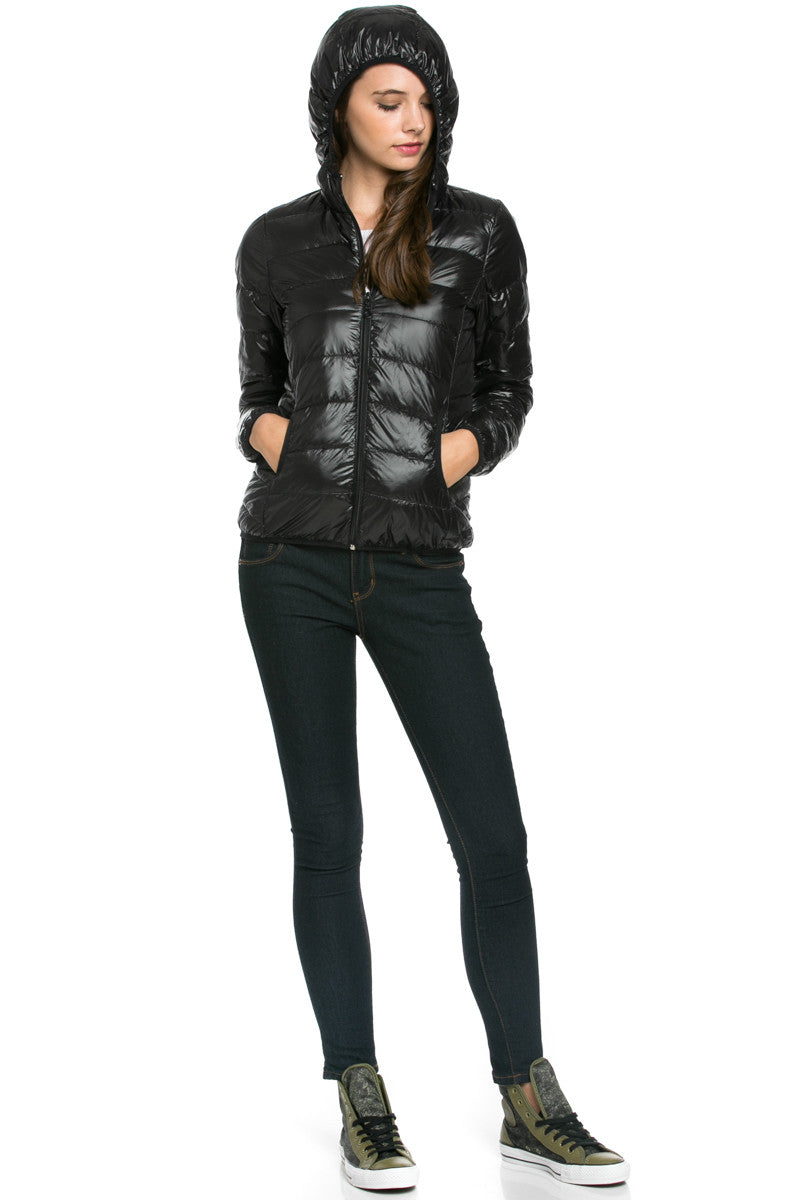 Lightweight Puffer Down Hooded Jacket Black - Jacket - My Yuccie - 4