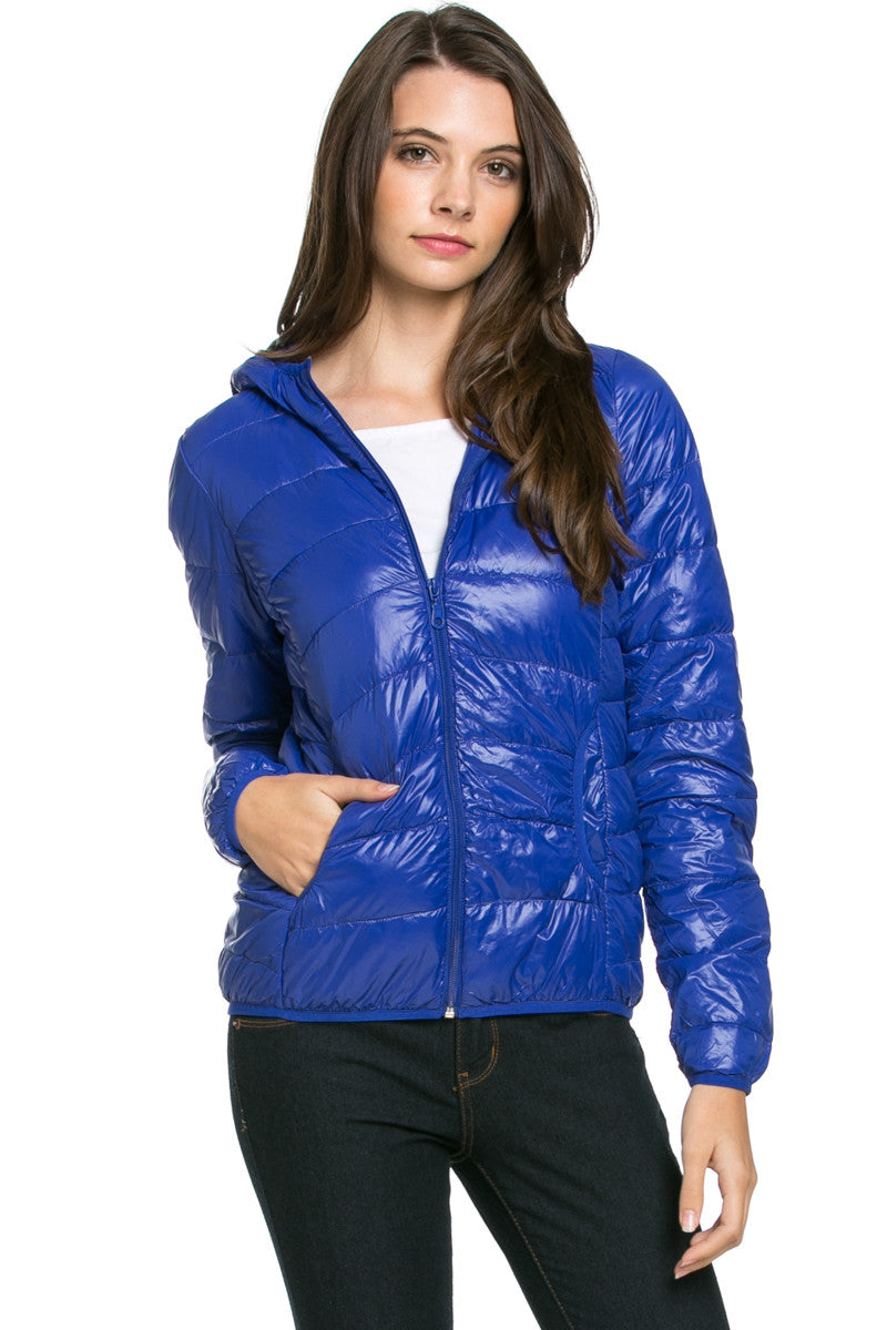 Lightweight Puffer Down Hooded Jacket Blue - Jacket - My Yuccie - 1