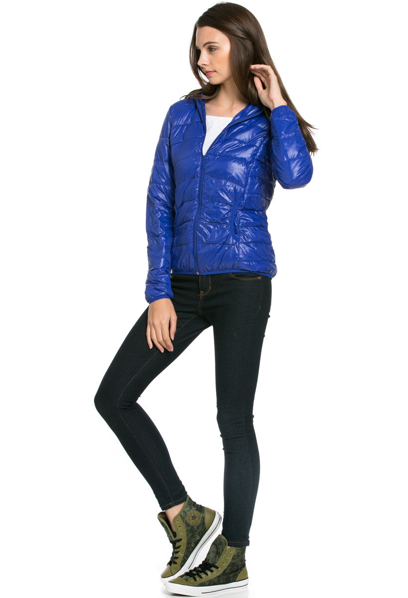 Lightweight Puffer Down Hooded Jacket Blue - Jacket - My Yuccie - 2