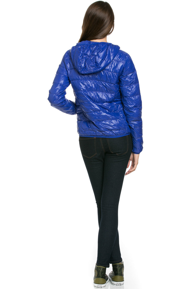 Lightweight Puffer Down Hooded Jacket Blue - Jacket - My Yuccie - 3