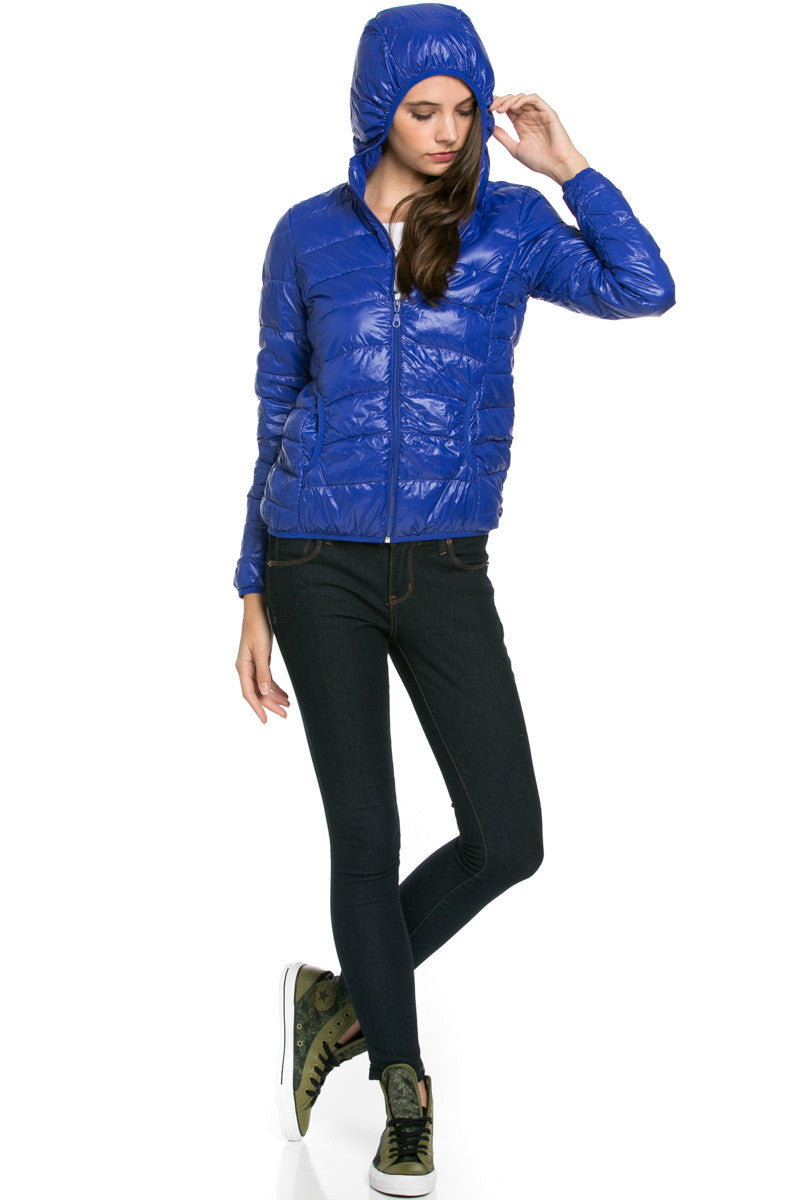 Lightweight Puffer Down Hooded Jacket Blue - Jacket - My Yuccie - 4
