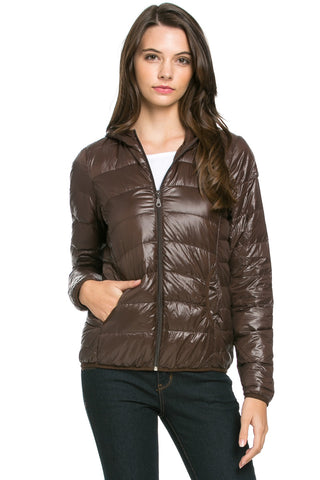 Lightweight Puffer Down Hooded Jacket Brown - Jacket - My Yuccie - 1