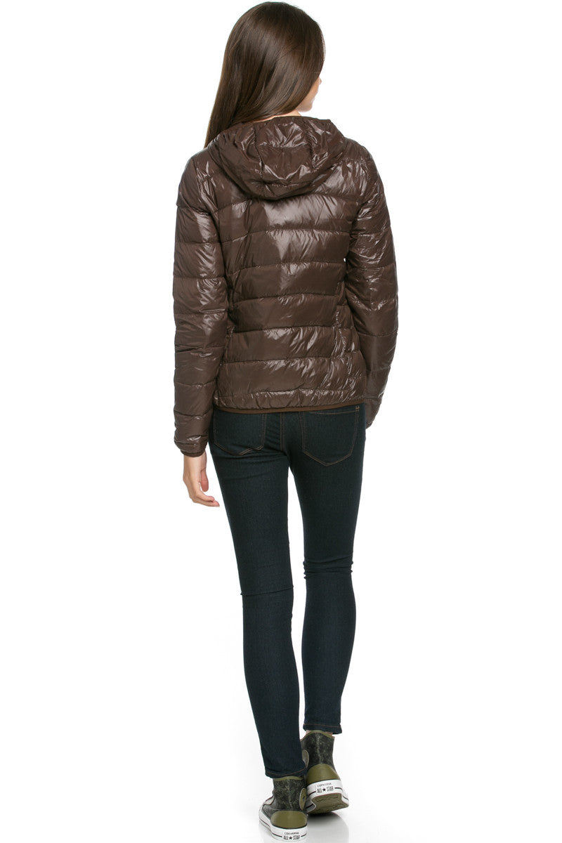 Lightweight Puffer Down Hooded Jacket Brown - Jacket - My Yuccie - 3