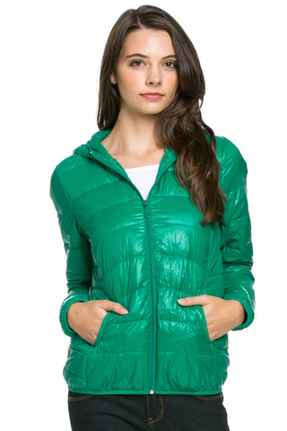 Lightweight Puffer Down Hooded Jacket Green - Jacket - My Yuccie - 1