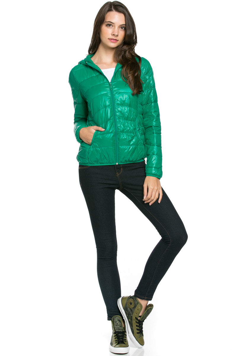 Lightweight Puffer Down Hooded Jacket Green - Jacket - My Yuccie - 2