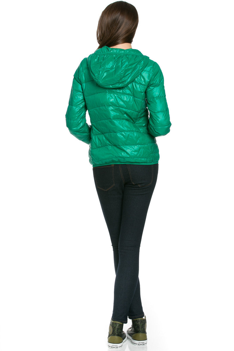 Lightweight Puffer Down Hooded Jacket Green - Jacket - My Yuccie - 3