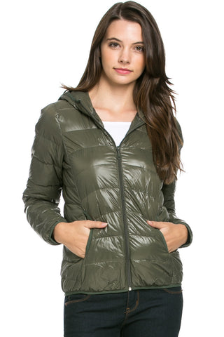 Lightweight Puffer Down Hooded Jacket Olive - Jacket - My Yuccie - 1
