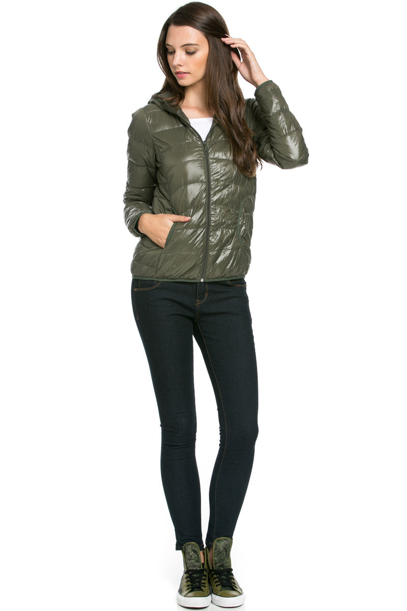 Lightweight Puffer Down Hooded Jacket Olive - Jacket - My Yuccie - 2