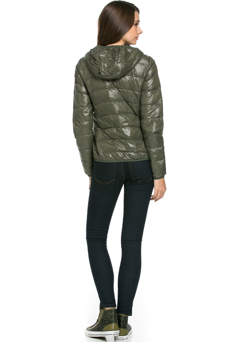 Lightweight Puffer Down Hooded Jacket Olive - Jacket - My Yuccie - 3