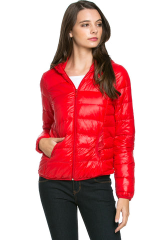 Lightweight Puffer Down Hooded Jacket Red - Jacket - My Yuccie - 1