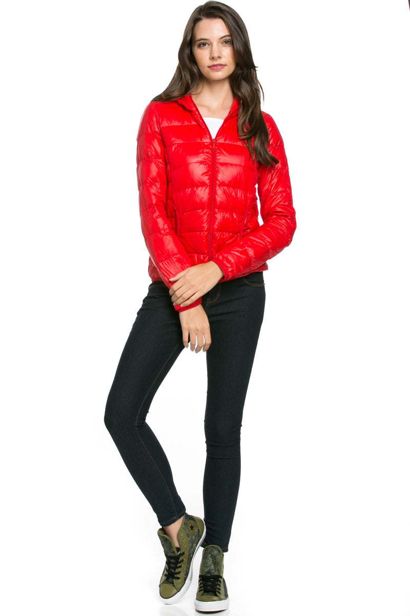 Lightweight Puffer Down Hooded Jacket Red - Jacket - My Yuccie - 2