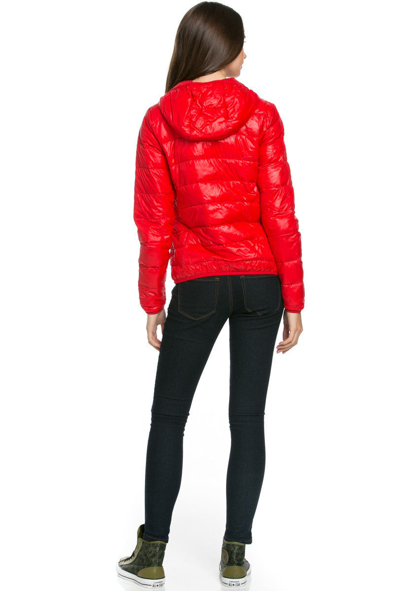 Lightweight Puffer Down Hooded Jacket Red - Jacket - My Yuccie - 3
