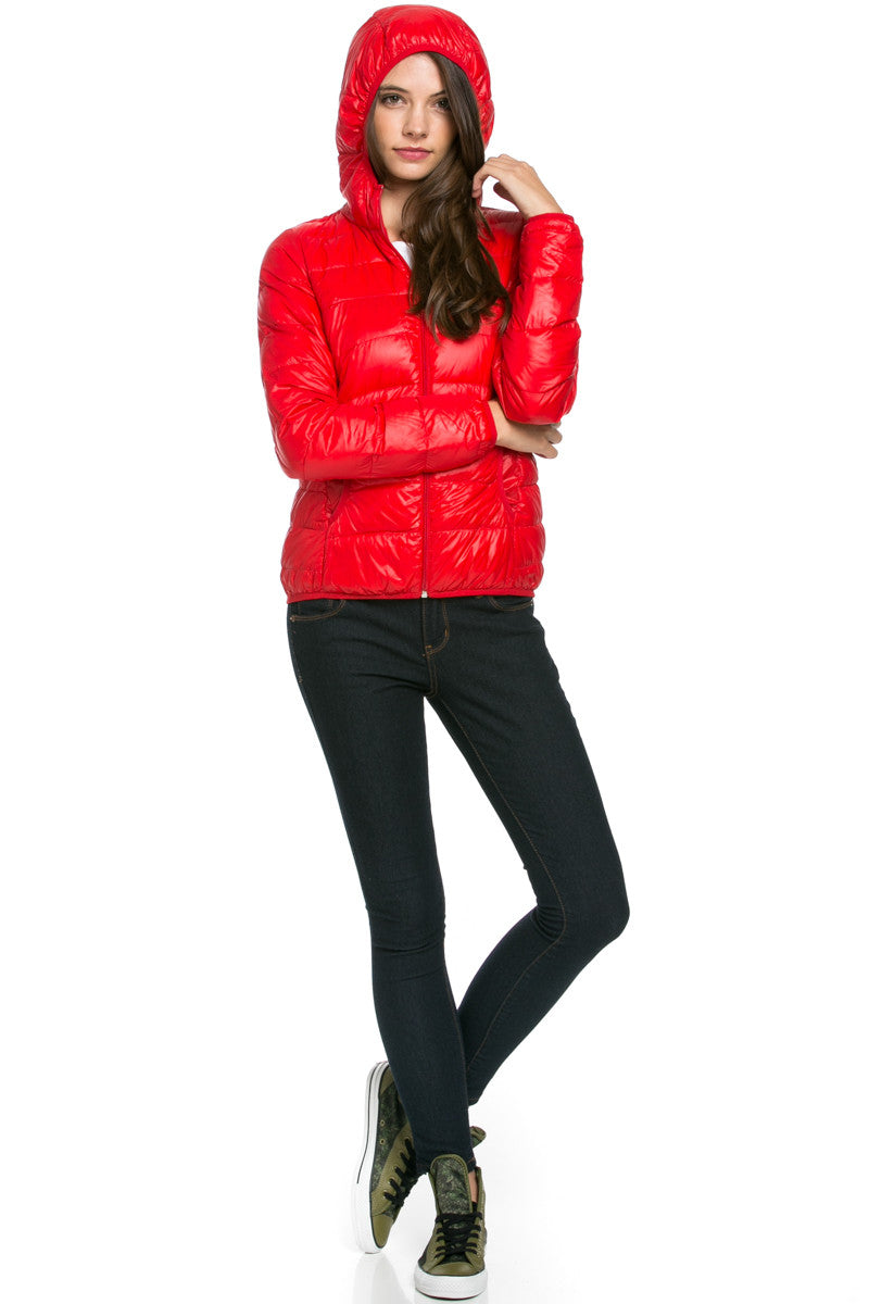 Lightweight Puffer Down Hooded Jacket Red - Jacket - My Yuccie - 4