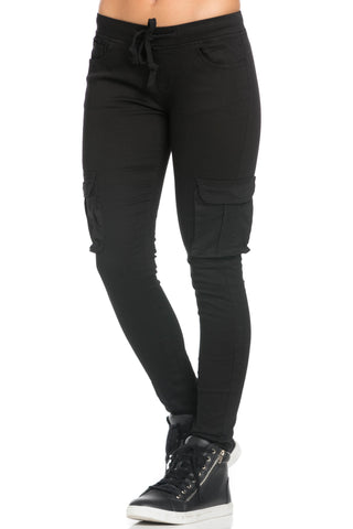 Mid Rise Skinny Black Cargo Pants - Pants - My Yuccie - 1