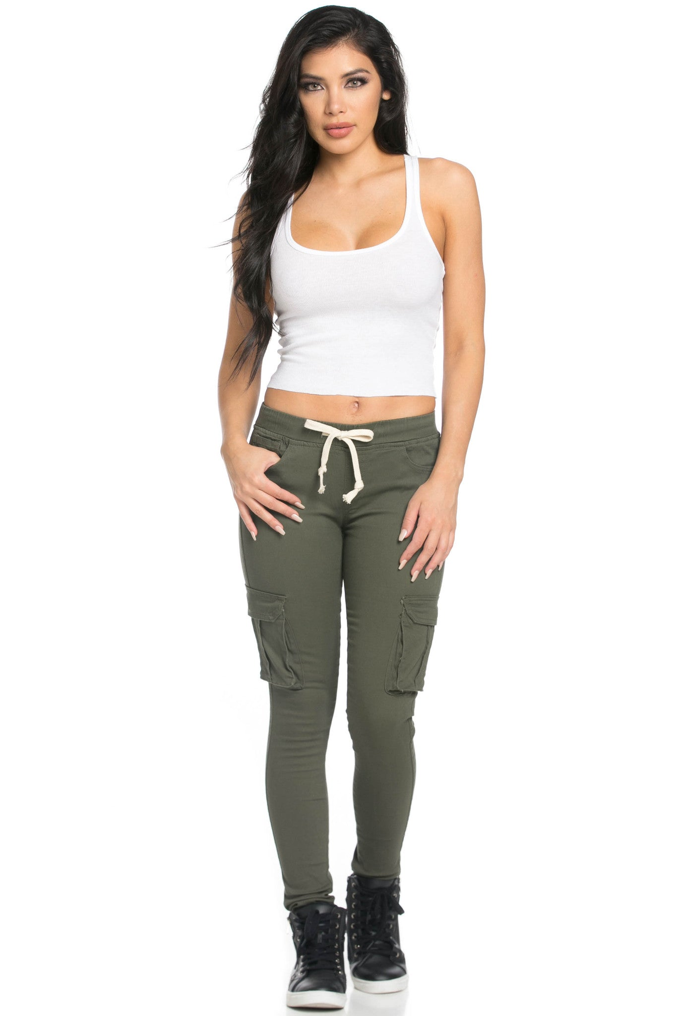 Mid Rise Skinny Olive Cargo Pants - Pants - My Yuccie - 9