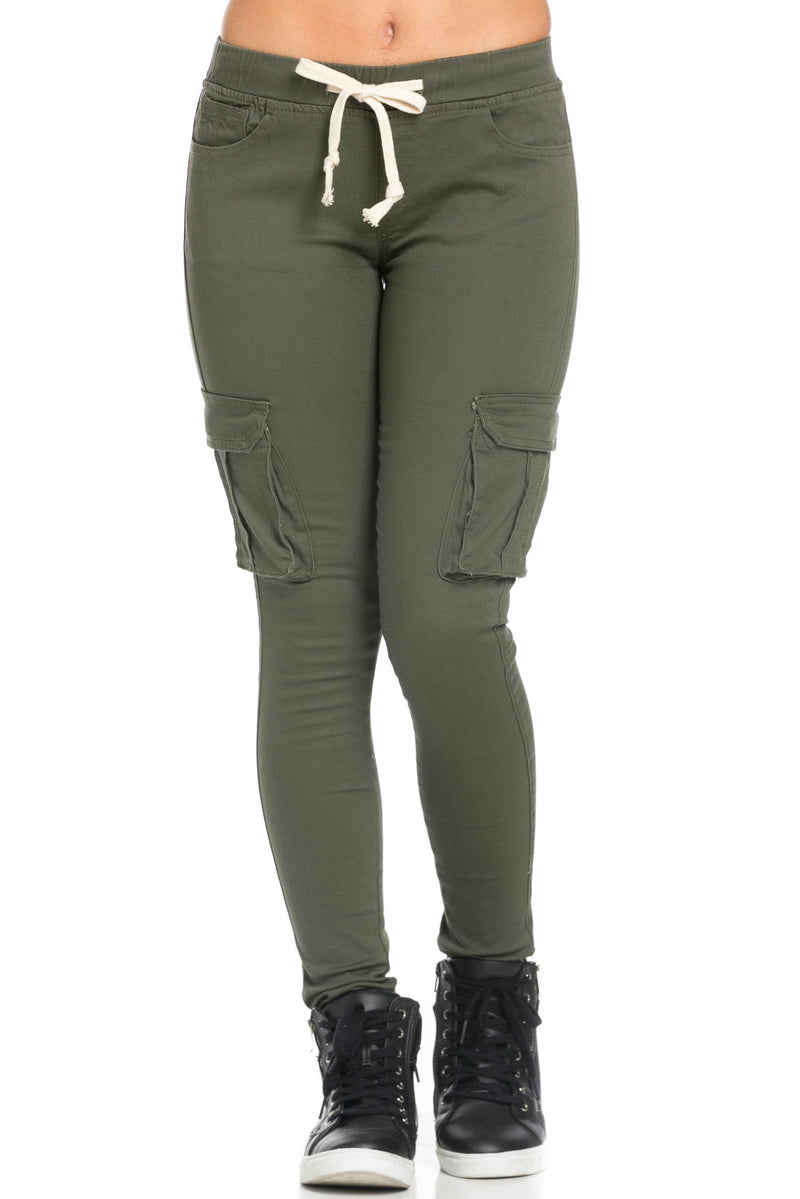 Mid Rise Skinny Olive Cargo Pants - Pants - My Yuccie - 2
