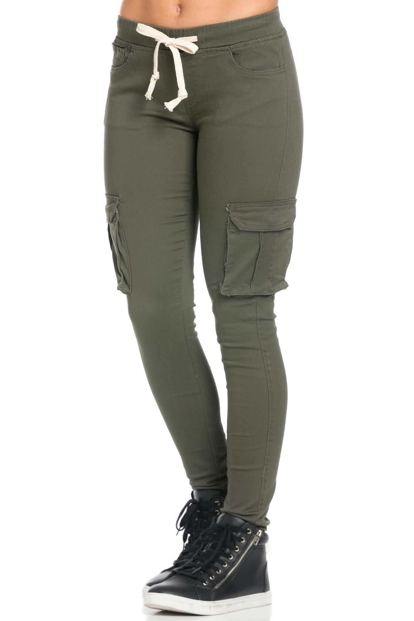 Mid Rise Skinny Olive Cargo Pants - Pants - My Yuccie - 1
