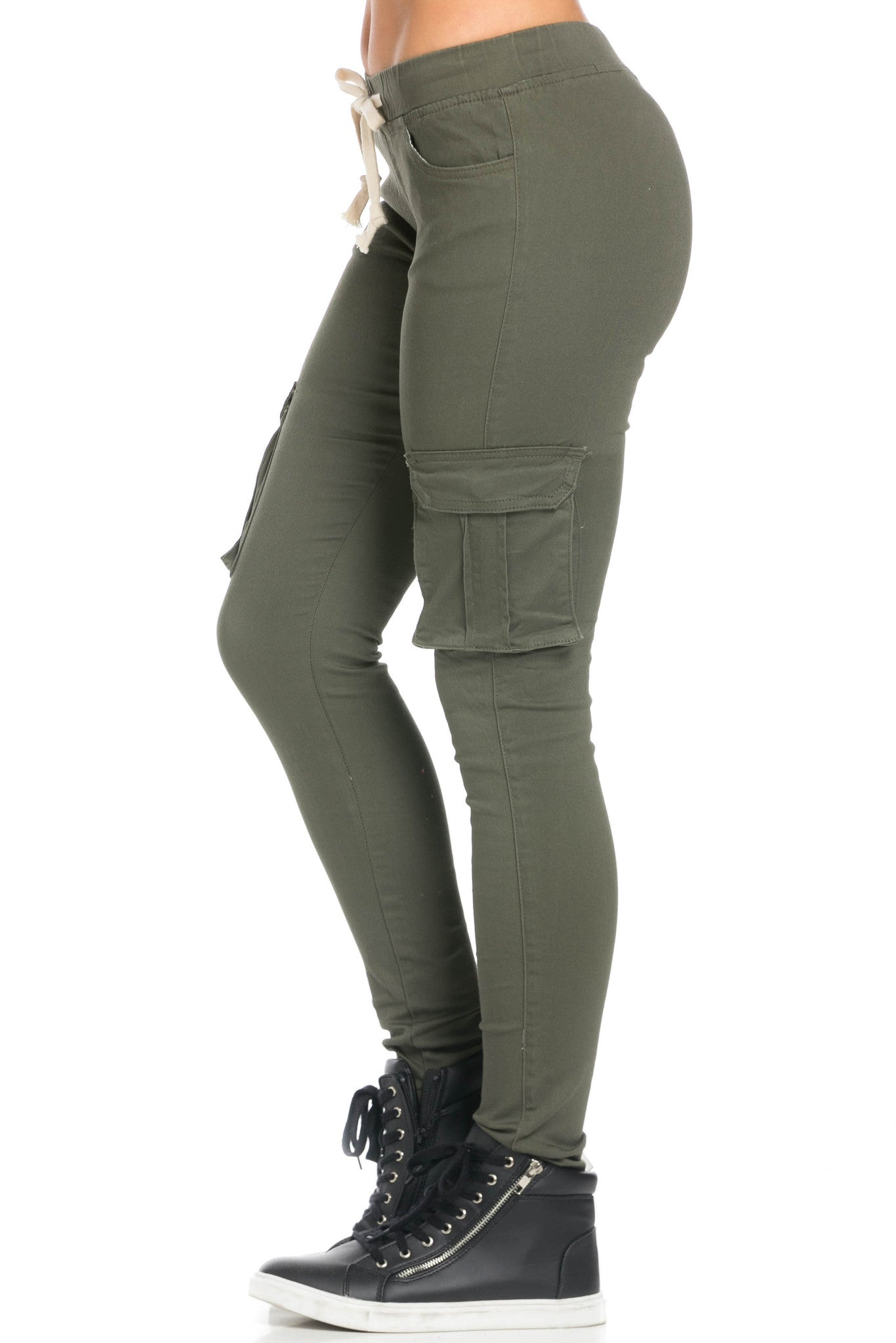 Mid Rise Skinny Olive Cargo Pants - Pants - My Yuccie - 3