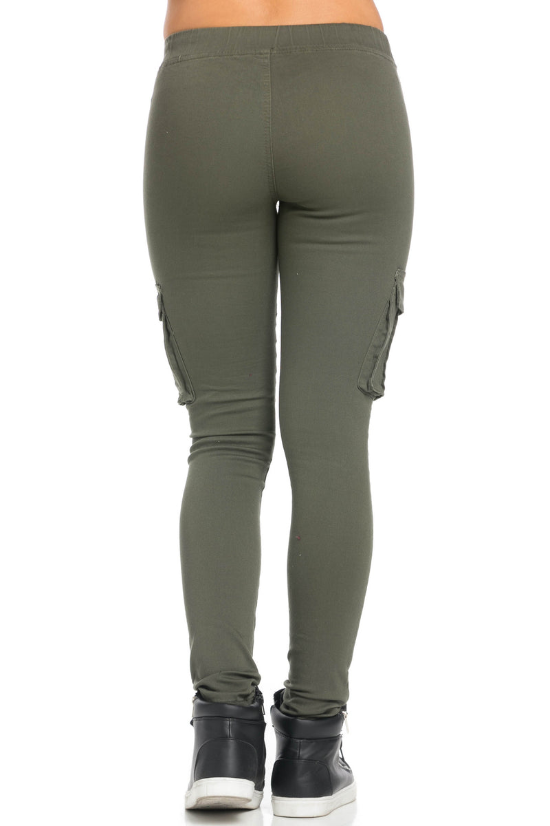 Mid Rise Skinny Olive Cargo Pants - Pants - My Yuccie - 4