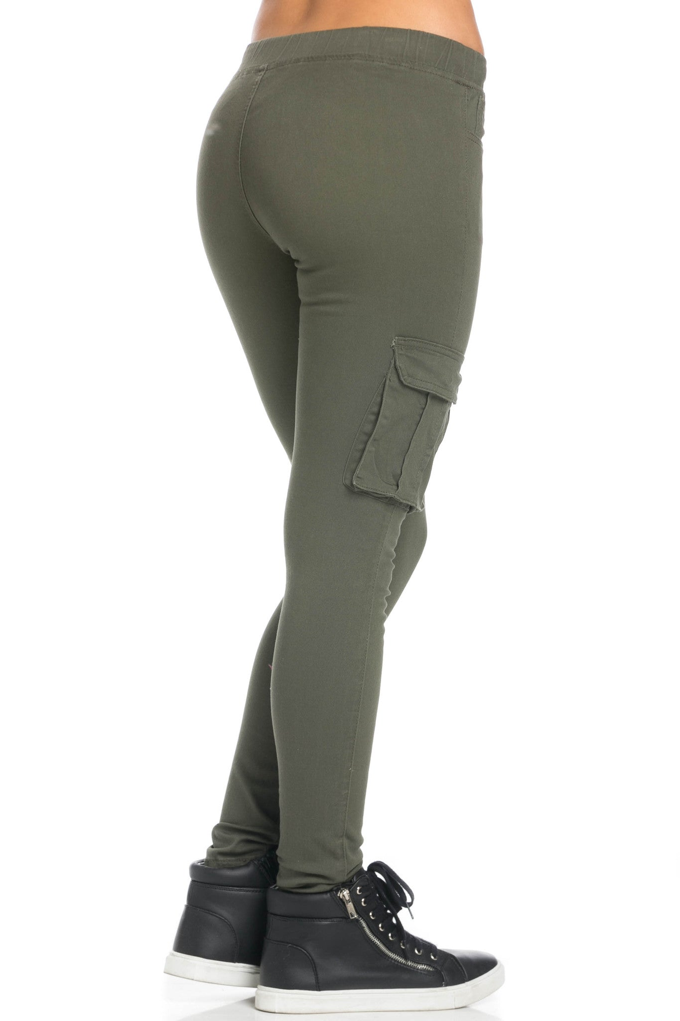 Mid Rise Skinny Olive Cargo Pants - Pants - My Yuccie - 6