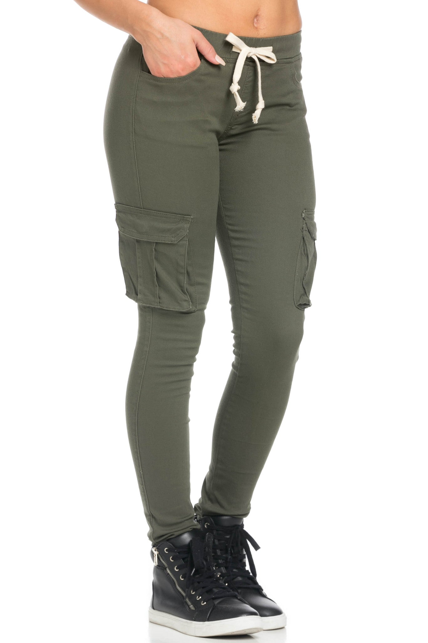 Mid Rise Skinny Olive Cargo Pants - Pants - My Yuccie - 5