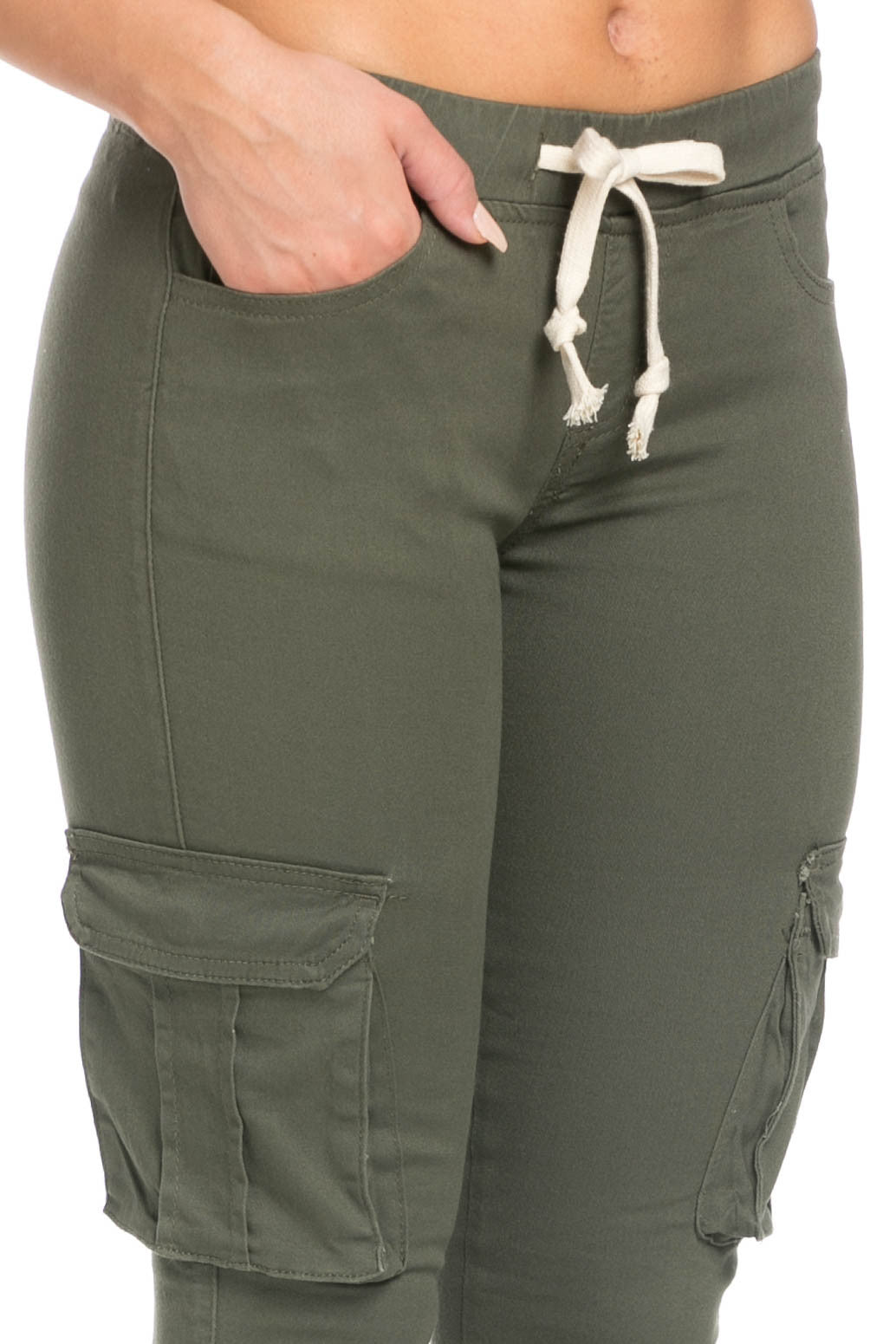 Mid Rise Skinny Olive Cargo Pants - Pants - My Yuccie - 7
